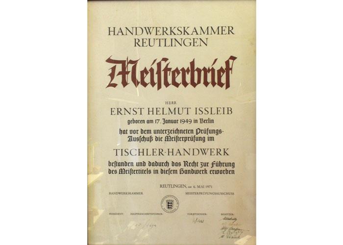 Meisterbrief von 1971
