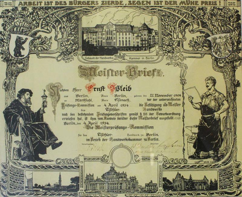 Meisterbrief von Ernst Ißleib